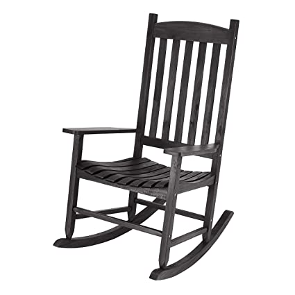 Incredible Amazon Com Wood Slat Outdoor Rocking Chair Black Garden Gmtry Best Dining Table And Chair Ideas Images Gmtryco