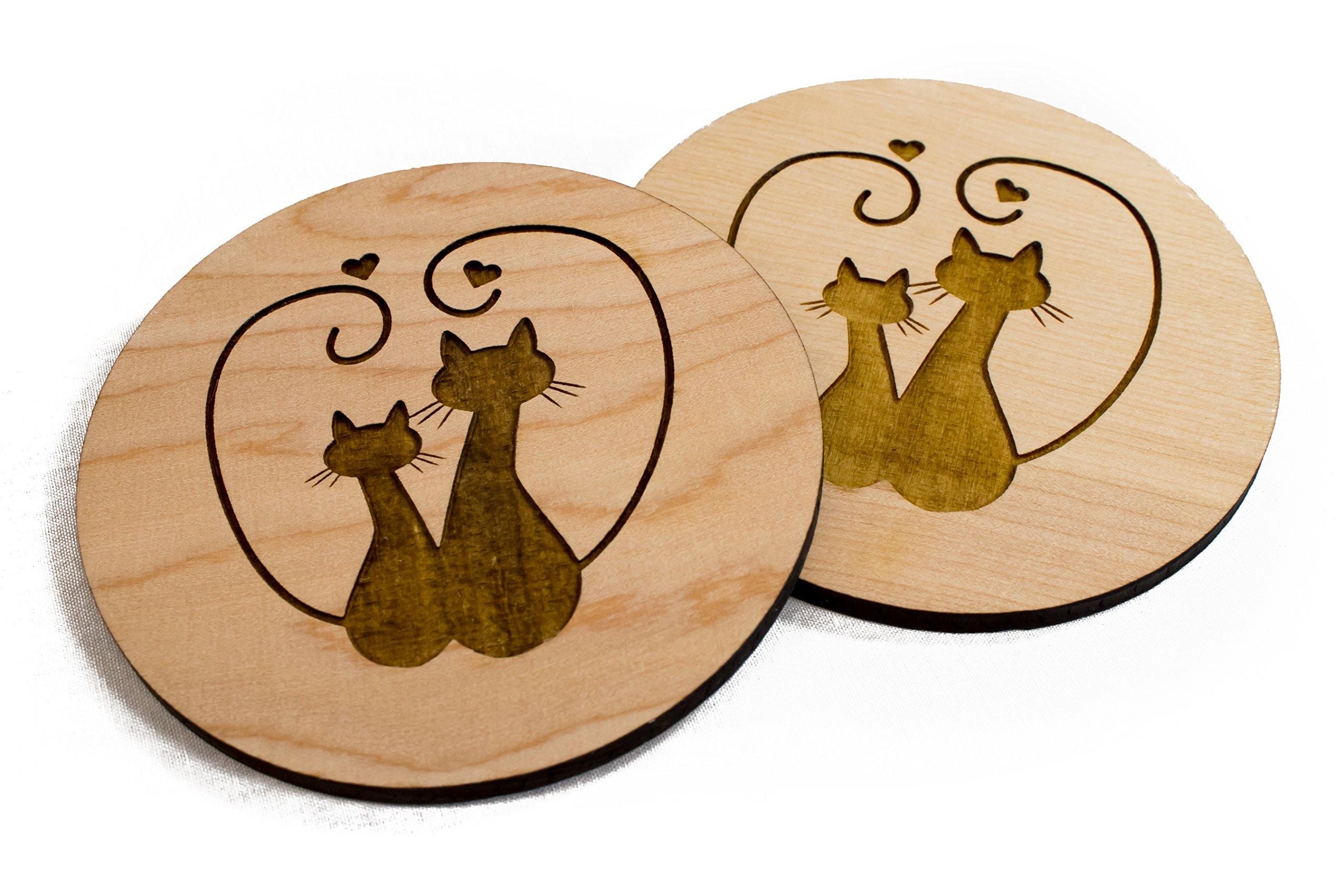 Unfinished Hand Made Cat Valentine's Day Coaster Set- 4 3.5'' Engraved Wood DIY Wedding Gift Venue