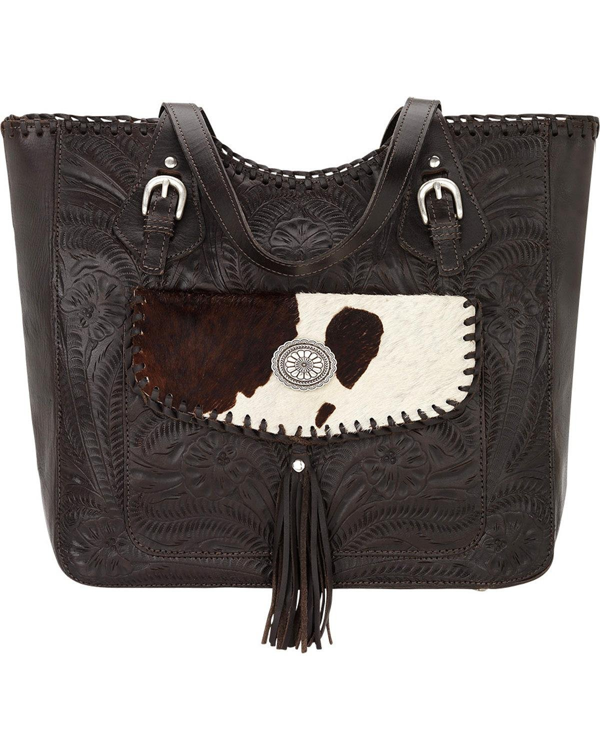 American West Women's Annie's Secret Collection Large Zip Top Tote, Chocolate, One Size