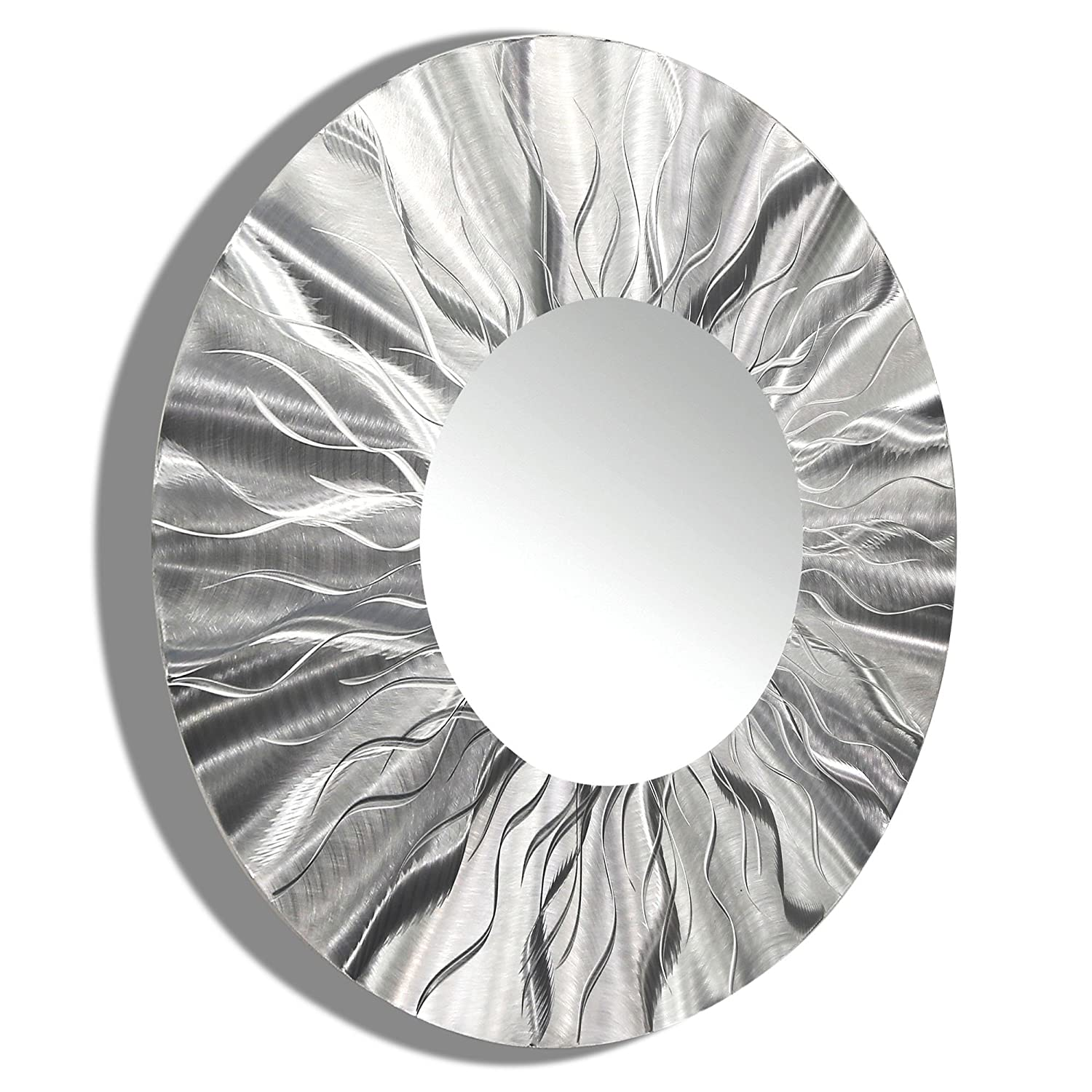 amazoncom large round silver modern metal wall art wall mirror home accent decor sculpture by jon allen mirror 105 home u0026 kitchen