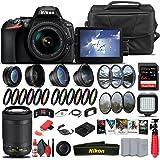 Nikon D5600 DSLR Camera with 18-55mm Lens (1576) + Nikon 70-300mm Lens + 64GB Memory Card + Case + Corel Software + 2 x EN-EL