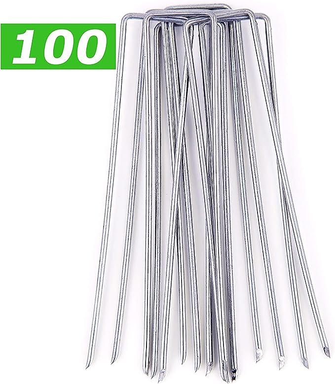 GardenPrime Grapas Metálicas Alambre de Acero 150mm para Sujetar Tela antihierbas, Mallas, Lana, aislantes, Telas de jardinería y láminas de Polietileno (100, 150 mm de Longitud, Acero galvanizado): Amazon.es: Jardín