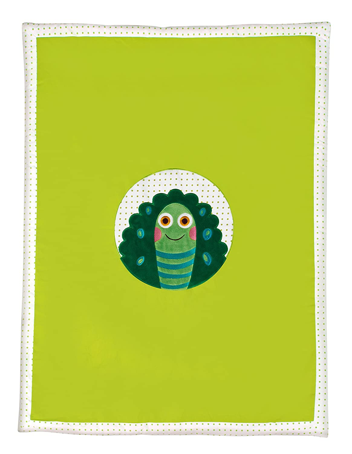 Little Helper Oops 100% Cotton Lightweight Cot Bed Duvet and Padded Play Mat in Cute Appliqué Turtle Design (Soft Lime Green) 51001.23