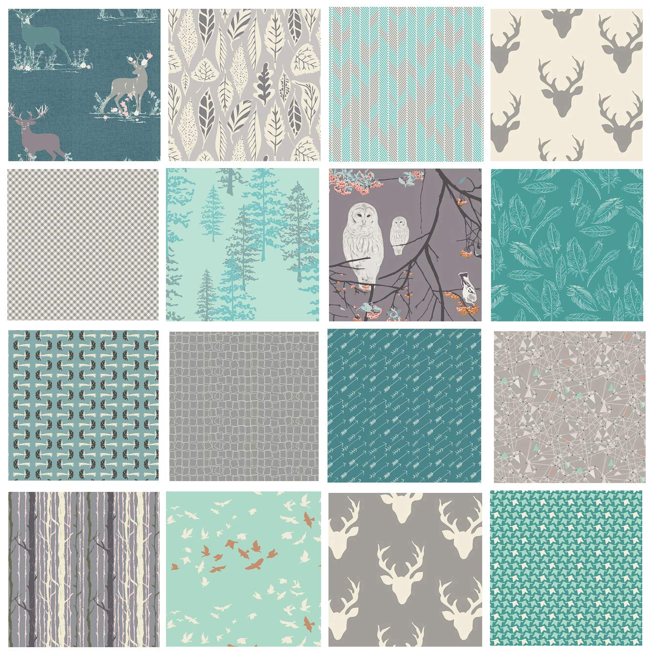 Hello Bear Quilting Bundle | Woodland Fabric Assortment | Forest Fat Quarters | Deer Head Fabrics | Owls Moths Mushrooms | Teal and Gray Fabric Bundle | Blithe Winged | Art Gallery (Fat Quarters) by Art Gallery Fabrics