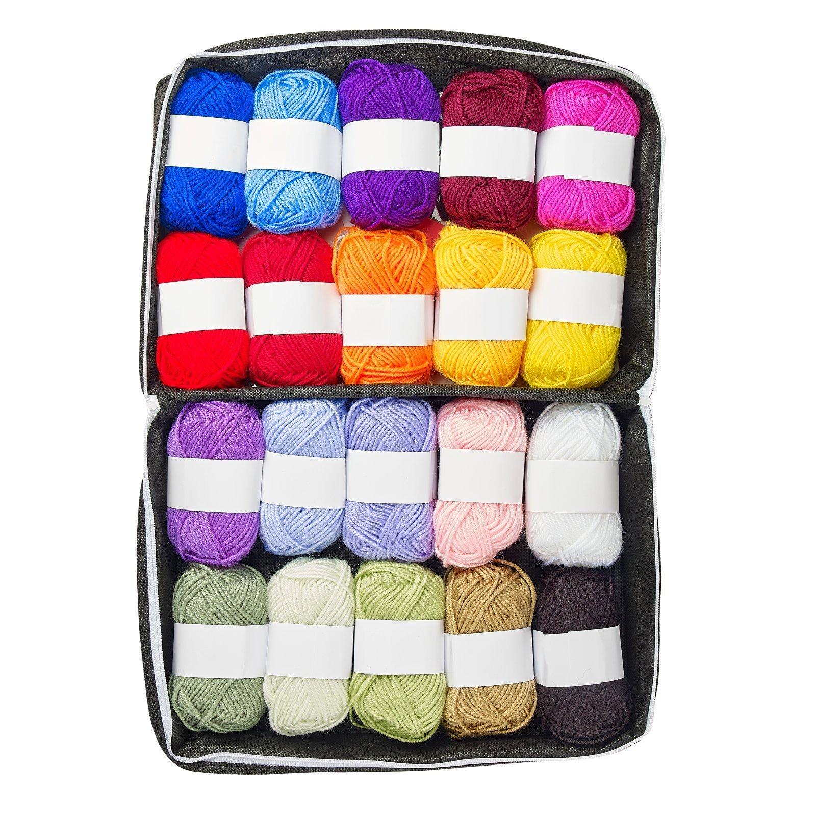 Mind My Thread 20 Super Soft Acrylic Yarn Skeins Set | Assorted Colors Crochet & Knitting Craft Yarn Kit with Reusable Storage Bag & Bonus Crochet Hook | 20 Colors Yarn Multi Pack by Mind My Thread (Image #4)