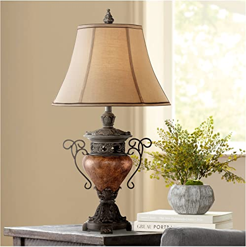 Traditional Table Lamp Bronze Crackle Urn Faux Silk Bell Shade