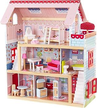 KidKraft Wood Chelsea CottageDollHouse With Furniture