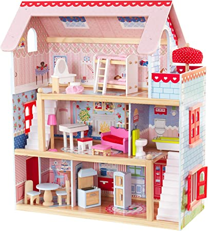 KidKraft Chelsea Wooden Doll Cottage with 16 Accessories, Working Shutters, for 5-Inch Dolls ,Gift for Ages 3+