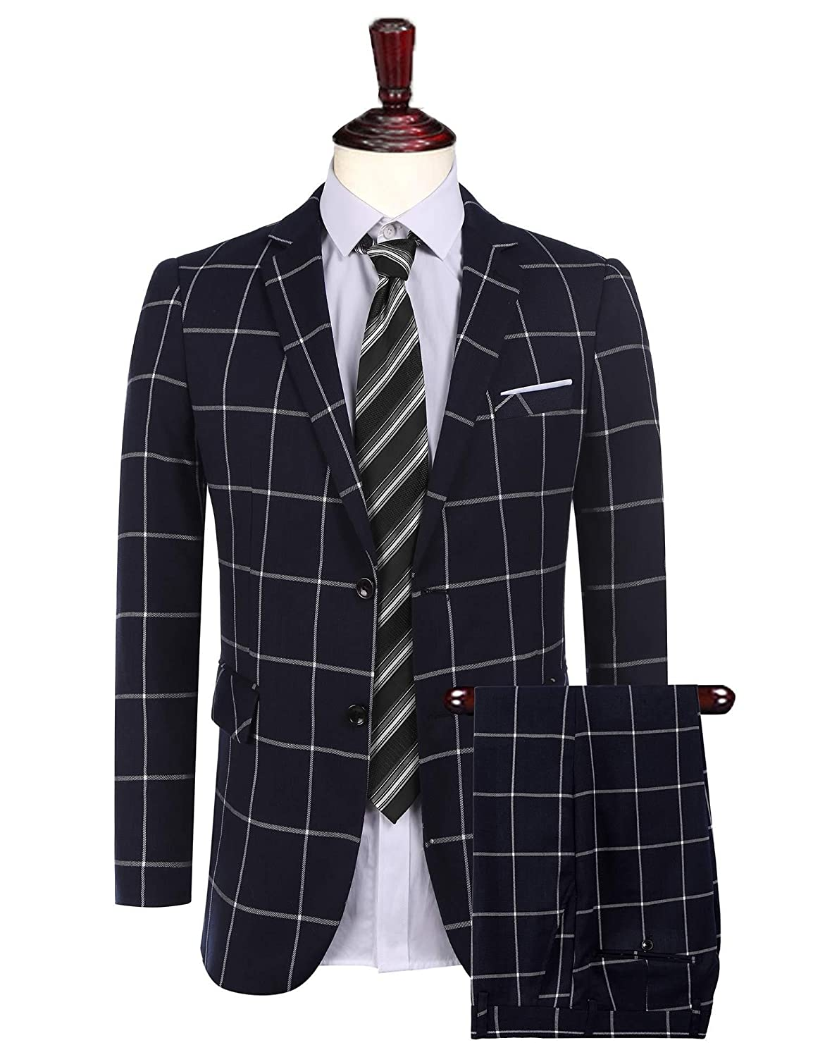 Jinidu Men's 2-Piece Fashion Plaid Suit Slim Fit Single-Breasted Blazer Jacket & Pants LY0230