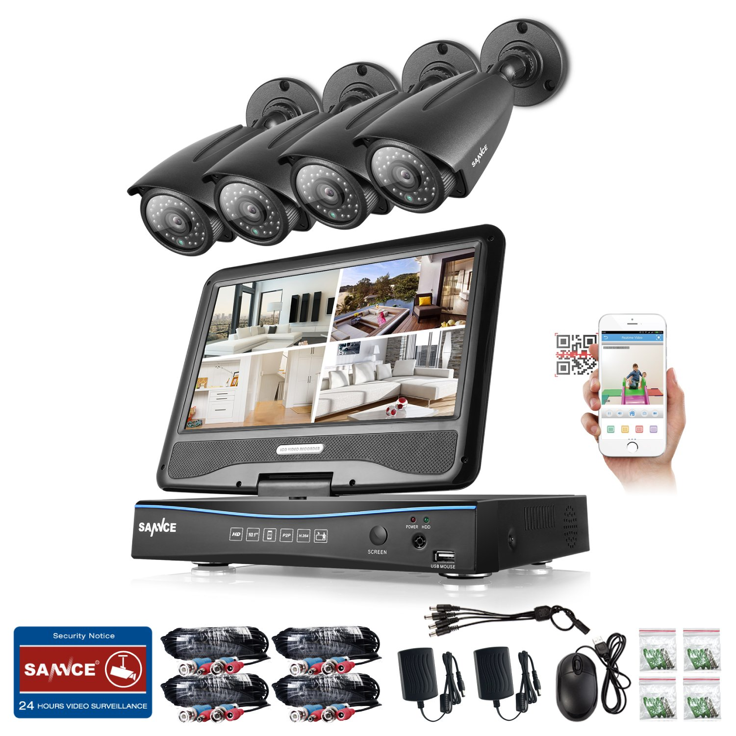 Sannce 8CH 1080N HD Security DVR Recorder Hybrid HVR NVR DVR All In One with Build in 10.1'' LCD Monitor and 1TB Hard Drive and (4) 960P Outdoor Fixed CCTV Camera, Smart IR-CUT, 100ft Night Vision