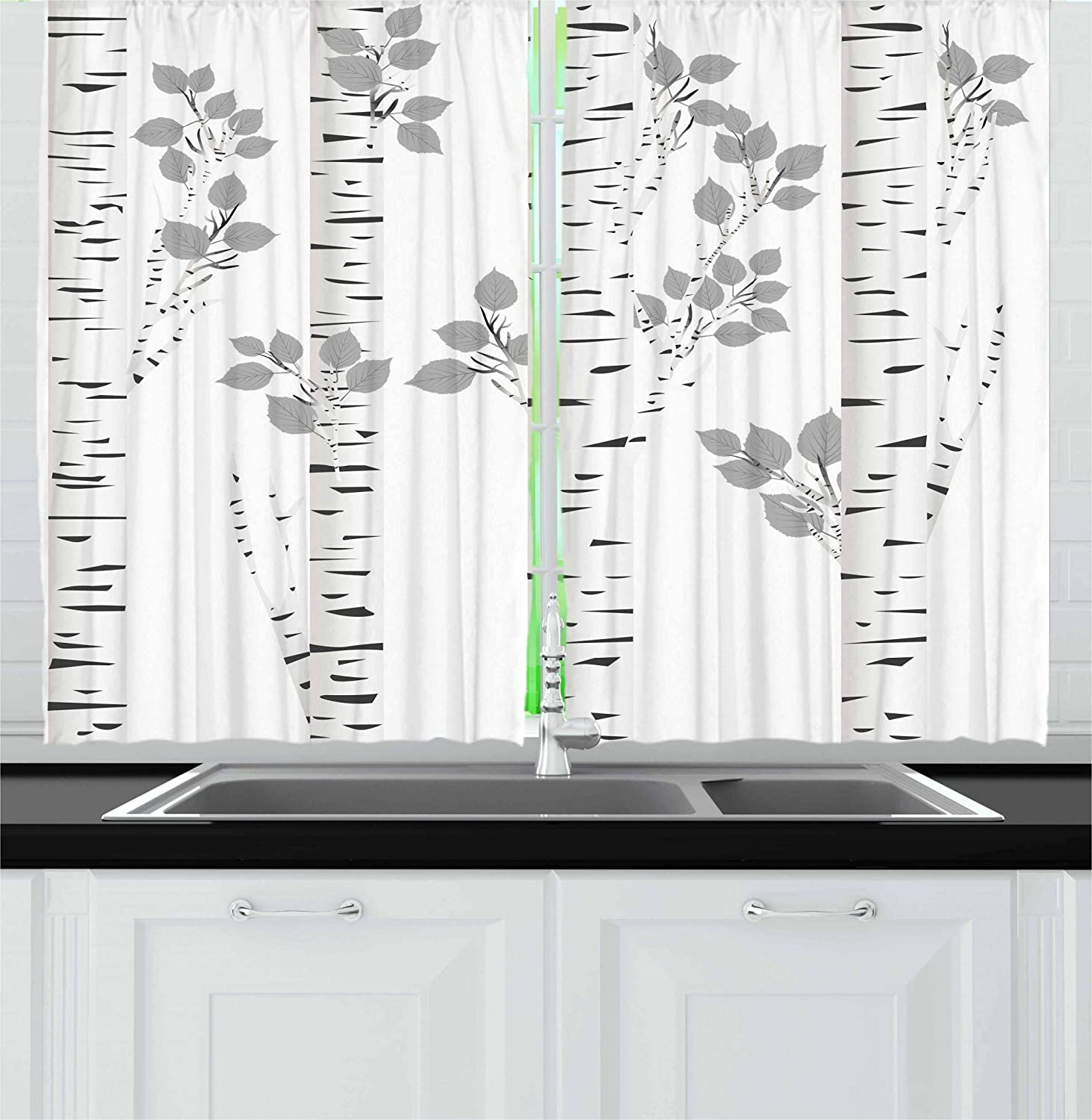 Ambesonne Birch Tree Kitchen Curtains, Artistic White Branches with Leaves Autumn Nature Forest Inspired Image Print, Window Drapes 2 Panel Set for Kitchen Cafe, 55 W X 39 L Inches, Grey White