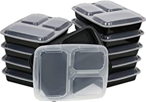 20 Pack - 3 Compartment Reusable Food Grade Meal Prep Storage Container Lunch Boxes, 39 Ounces