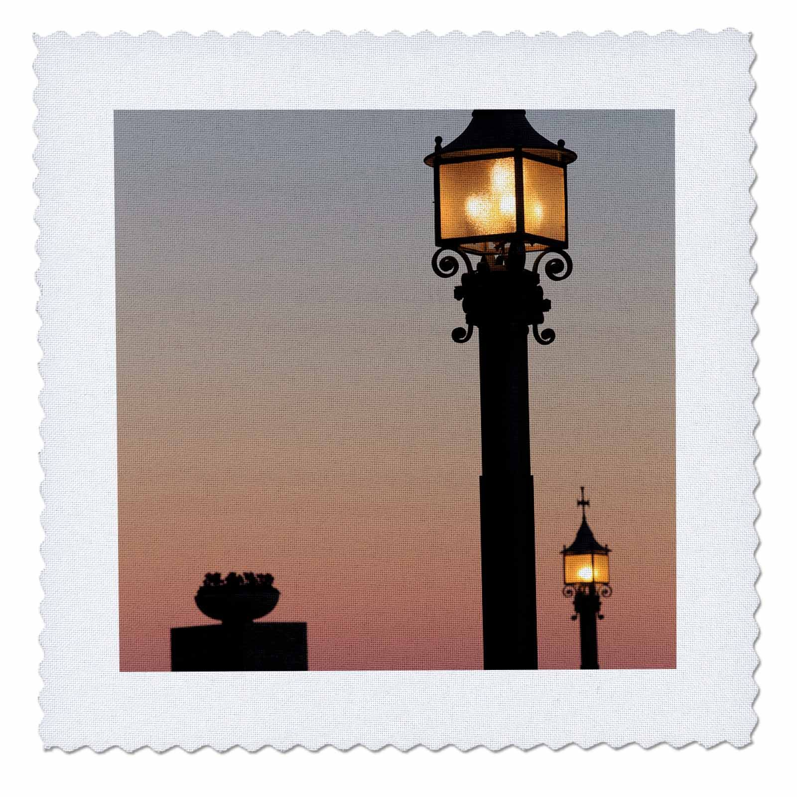 3dRose Danita Delimont - Lamps - Lanterns alight at sunset at Montserrat, Barcelona, Spain - 16x16 inch quilt square (qs_257871_6) by 3dRose