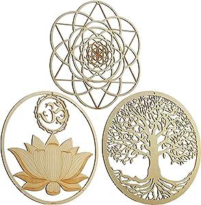 "ZenVizion 13.5"" Sacred Geometry Wall Art Set 9 (3pcs) Yoga Decor (Sacred Lotus Wall Decor OM Symbol, Seed of Life Wall Decor, Torus) Crystal Grid, Wooden Art, Meditation Decor, Spiritual Decor"