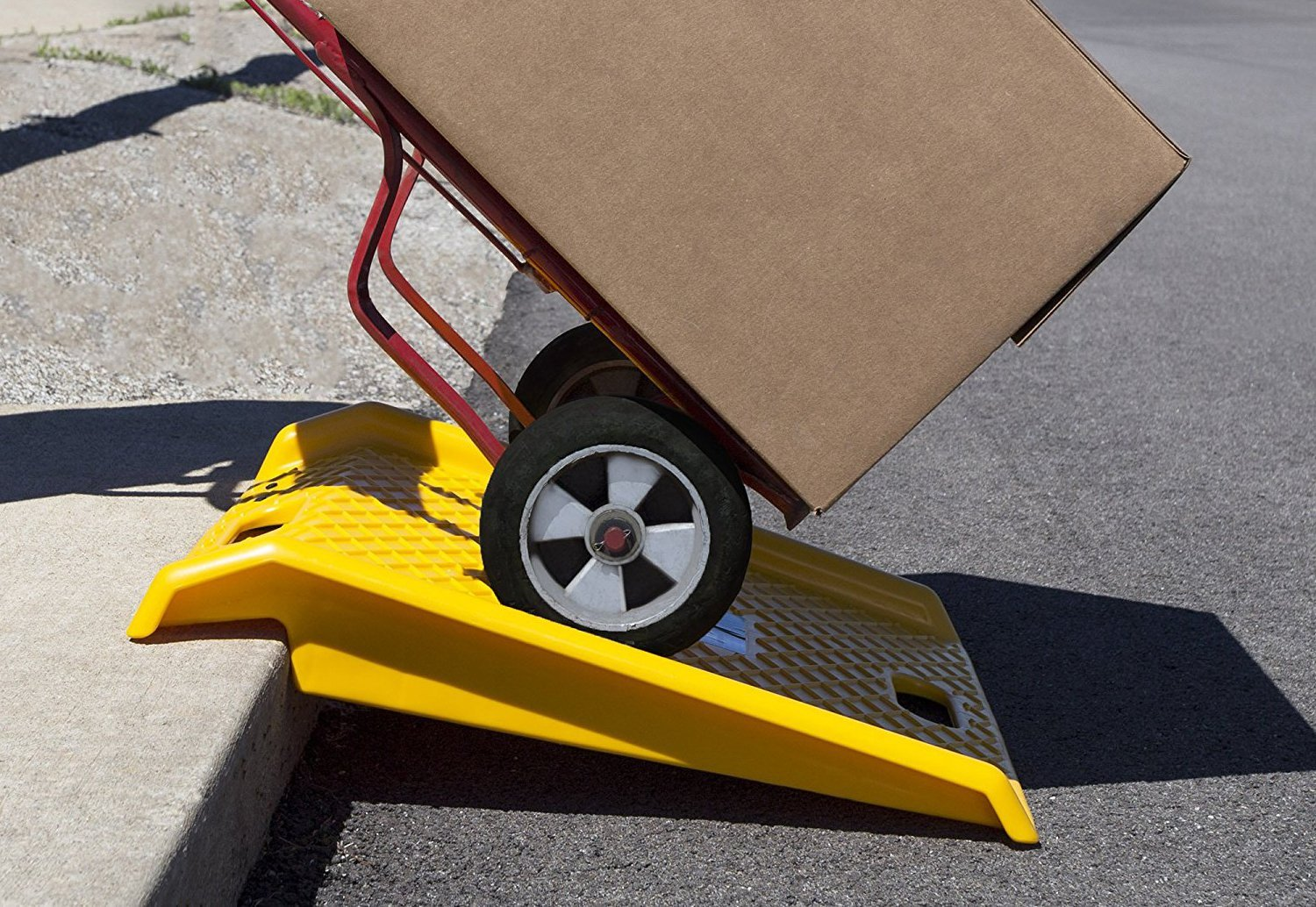 Curb Ramp - Heavy Duty 1000 Lbs Load Capacity - Yellow High Density Polyethylene for Hand Truck Delivery by BUNKERWALL (Image #6)