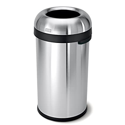 simplehuman bullet open top trash can commercial grade heavy gauge stainless steel 60 - Commercial Garbage Cans