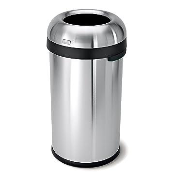 Amazon.com: simplehuman Bullet Open Top Trash Can, Commercial ...