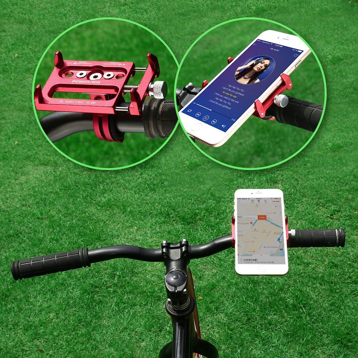 Poweradd Support de Téléphone Portable en Vélo Aluminium Support de Guidon Vélo Bicyclette Moto Cyclisme Gps Caméra Etend Jusqu\'à 100mm- Rouge