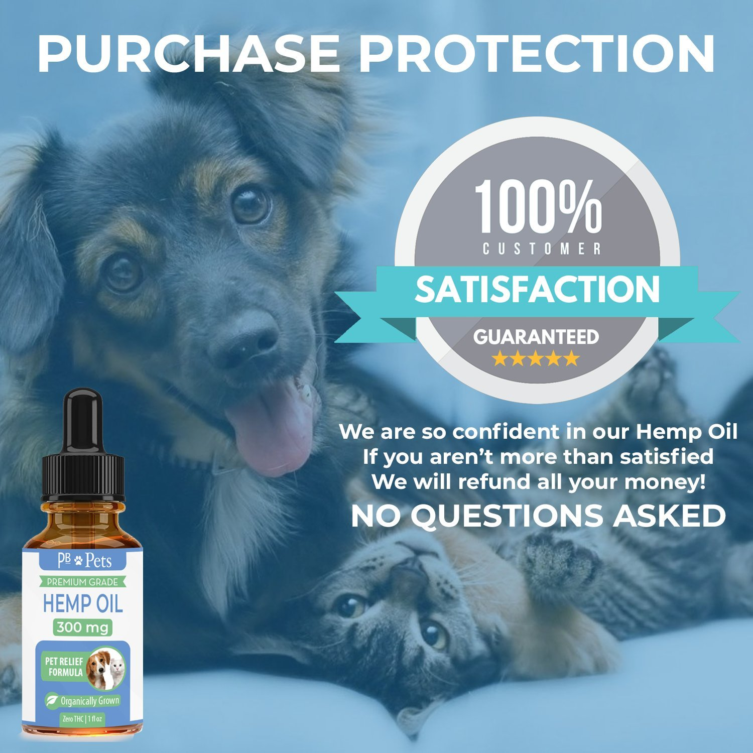 Full Spectrum Hemp Oil for Dogs and Cats (300mg) - Organically Grown & Made in USA - Pet Relief Formula Supports Hip & Joint Health, Natural Relief for Pain, Separation Anxiety