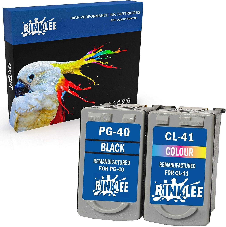 RINKLEE Remanufacturado para Canon PG-40 CL-41 Cartucho de Tinta Compatible con Canon Pixma iP2600 MP140 MP460 iP1800 iP1900 iP2500 MP190 MP210 MP220 MP170 MP180 MP160 MP450 MP150 | 1 Negro, 1 Color:
