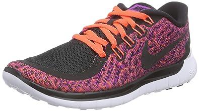 NIKE Women's Free 5.0 Print Running Shoe Vivid Purple/Hyper  Orange/White/Black