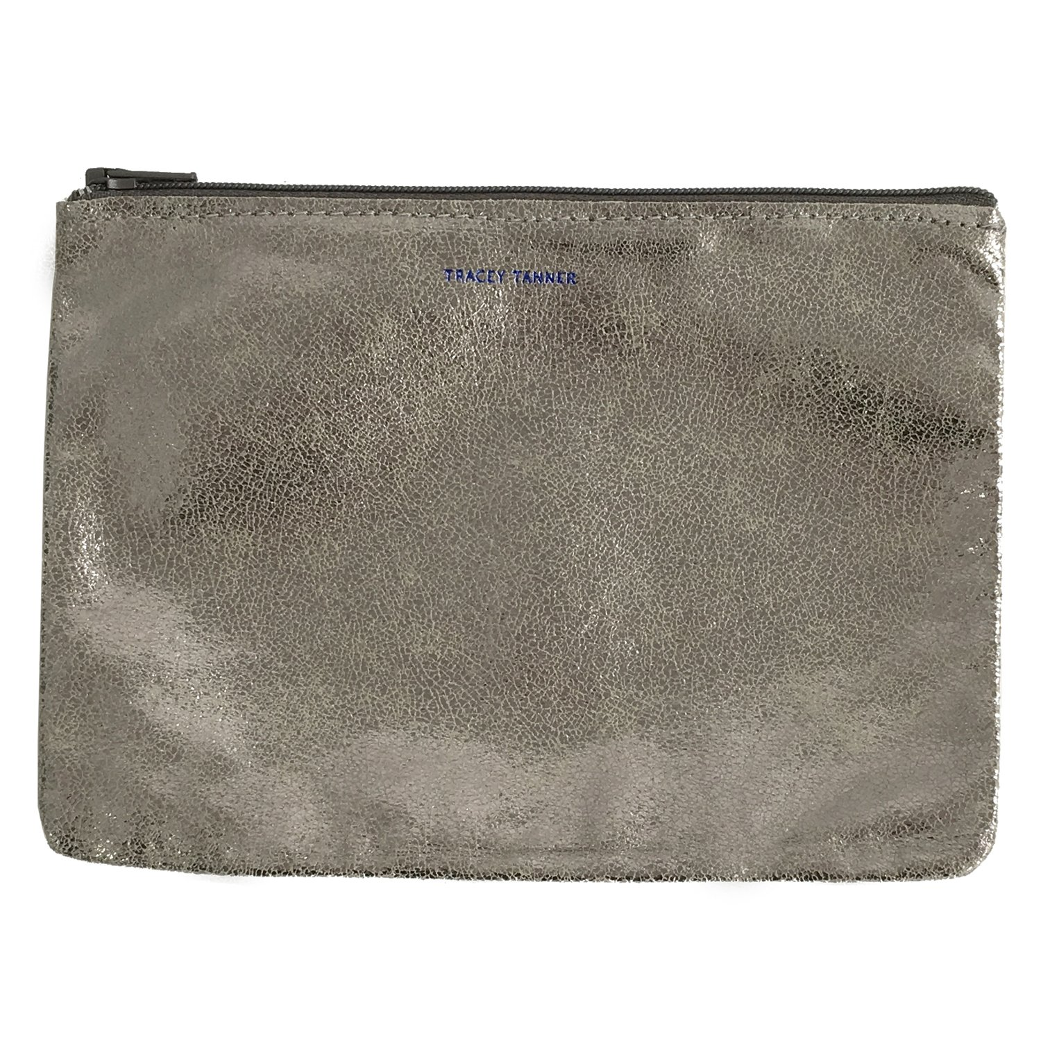 Tracey Tanner Medium Zipper Top Pouch - Silver Sparkle
