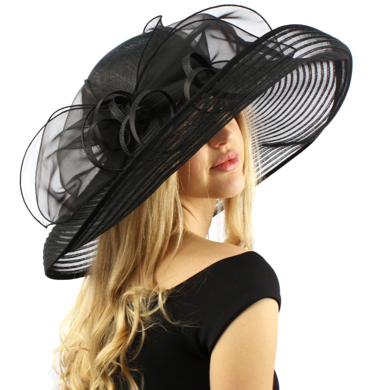 Stunning Simamay Spiral Bow Floral Kentucky Derby Floppy 7'' Brim Dress Hat Black