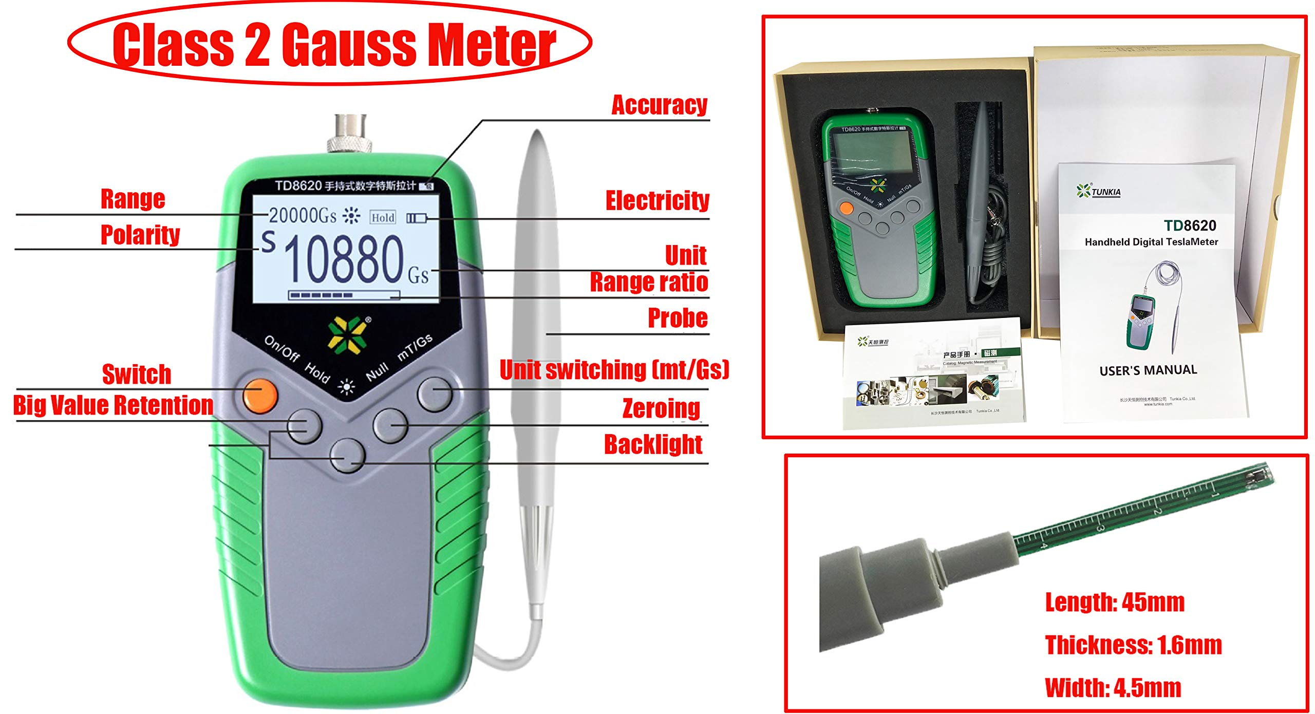 HFBTE TD8620 Permanent Magnet Gauss Meter Tesla Meter Gaussmeter with Class 2 Accuracy Surface Magnetic Field Tester