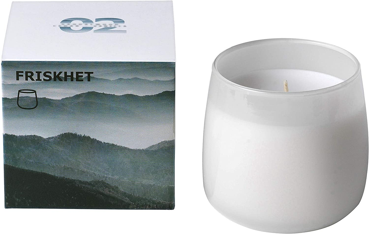 Mountain air IKEA ASIA FRISKHET Scented Candle in Glass Grey