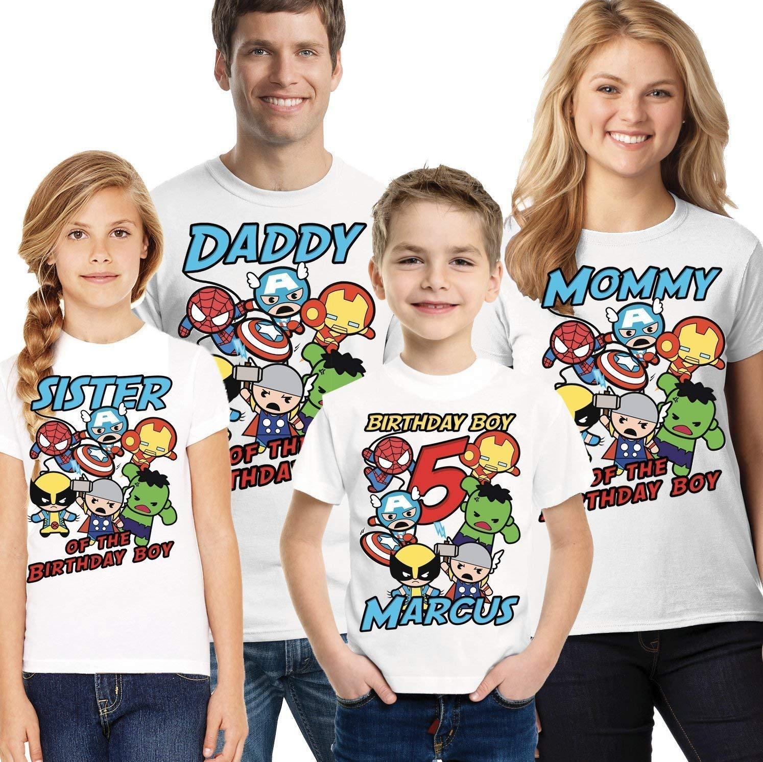 Personalised Superhero Boys T-Shirt Childrens T Shirt Kids Custom Top
