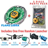 Flame Libra BB-48 Beyblade Starter Set Includes Free Gifts - 1 Launcher, 1 Random Stats Card, & 5 Piece Beyblade Parts Pack - All from Metal Fusion, Metal Fury, & Metal Masters Series