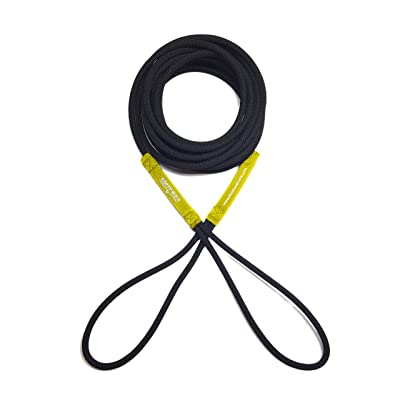 Boat Line Rope Bungee - Heavy Duty Line for Launching, Retrieving, Mooring and Docking (Black/Yellow, 15 Feet)