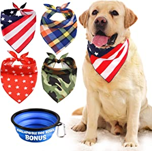 Dog Bandana, Bibs Scarf for Pet – 4Pcs Washable Triangle Hankerchief, Adjustable Neckerchief Accessories for Small Medium Large Dogs Scarves, Bonus Pet Bowl Collapsible for Puppy Bandanas Collars Boy