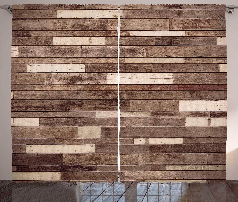 "Ambesonne Wooden Curtains, Wall Floor Textured Planks Panels Picture Art Print Grain Cottage Lodge Hardwood Pattern, Living Room Bedroom Window Drapes 2 Panel Set, 108"" X 84"", Brown Beige"