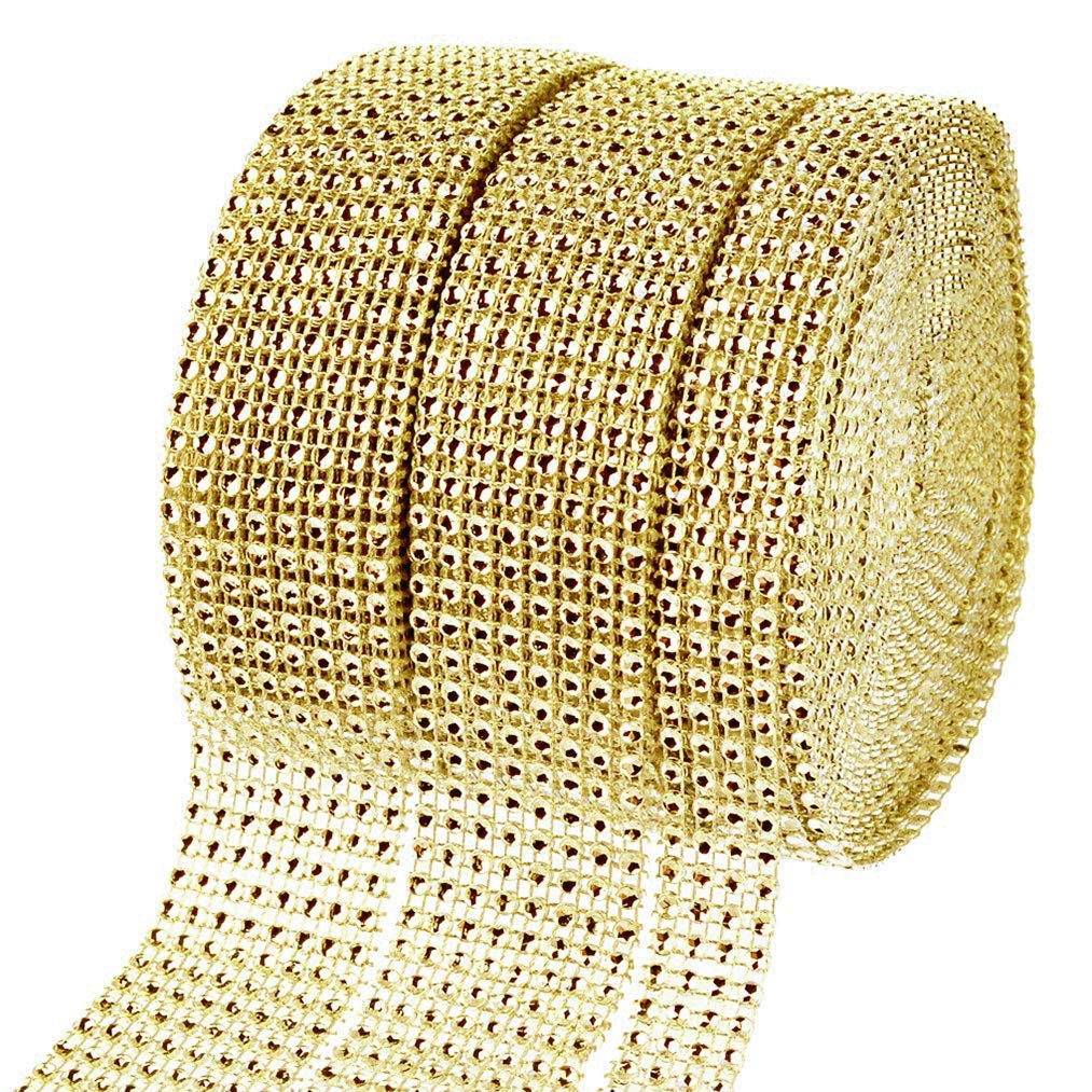 Lystaii Strass Diamant Band 2 Rollen 8 Reihe 10 Yard und 1 Rolle 4 Reihe 10 Yard Bling Sparkle Diamond Wrap f/ür Hochzeit Dekorationen und Kunsthandwerk Gold