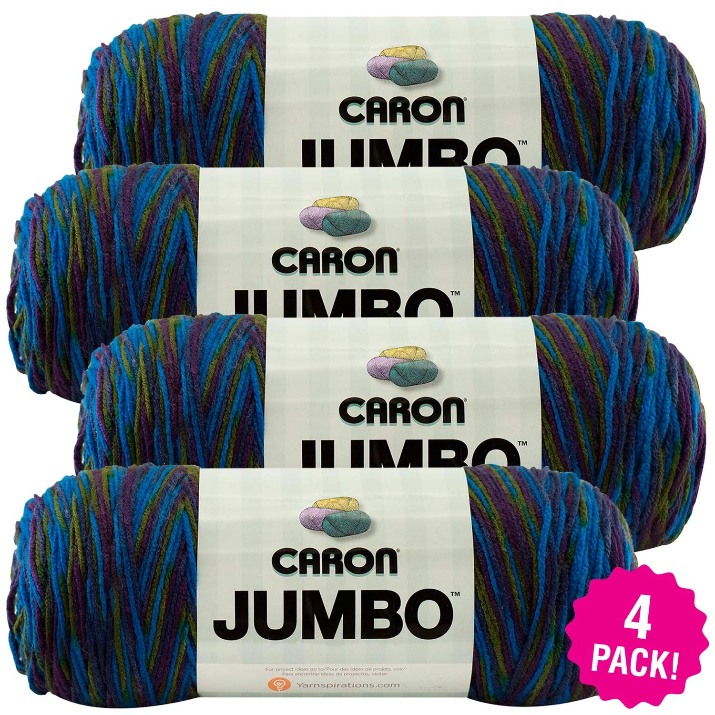 Caron 99567 Jumbo Print Yarn-Peacock, Multipack of 4, Pack