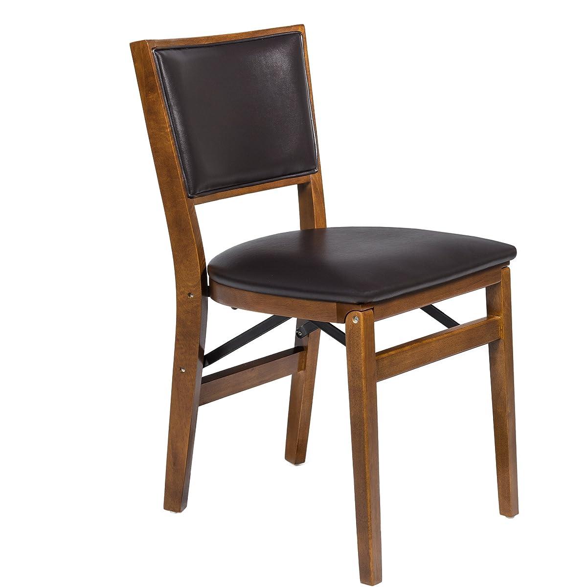 Stakmore Retro Upholstered Back Folding Chair Finish, Set of 2, Fruitwood