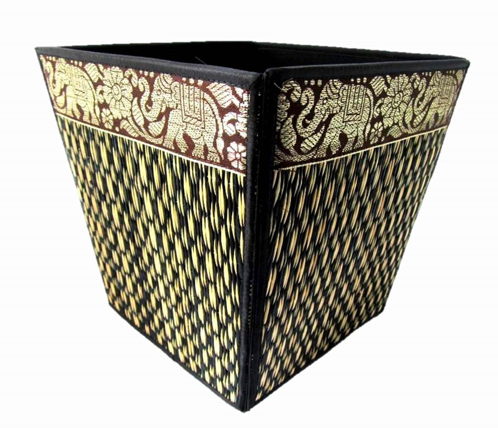 Decorative Waste Baskets for Bedroom Bathroom Office Elephant Desk Accessories 8 Inch (Black) by Blue Orchid