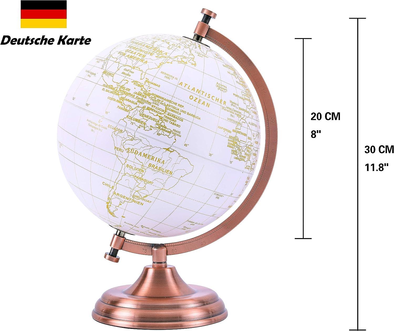 EXERZ 20cm Globo Dorado Color Met/álico De Escritorio Moderna Arco Y Base De Metal Recubiertos En Color Dorado Decoraci/ón Educativa Geogr/áfica Alem/án