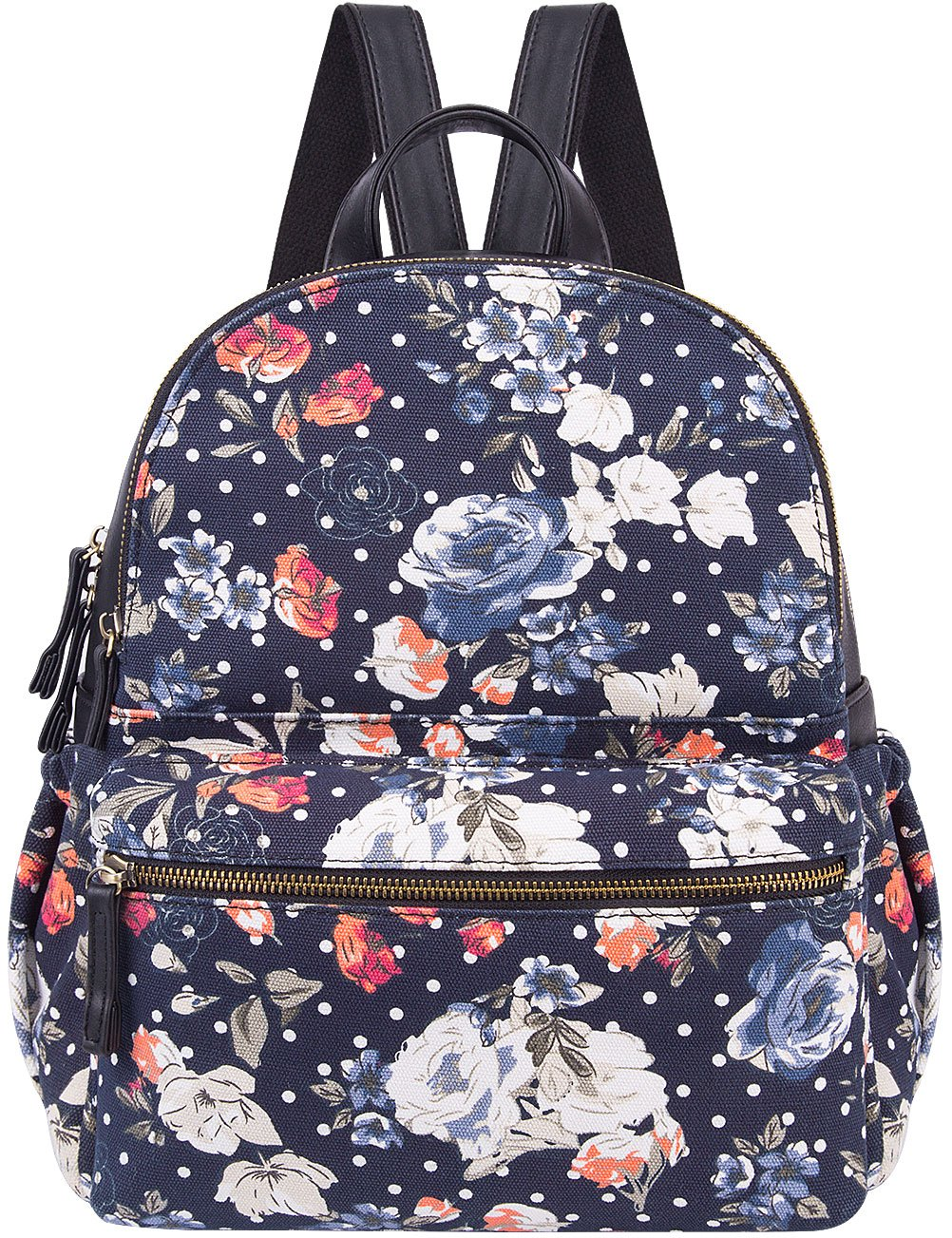 Cute Backpack for Women Canvas High School Daypack Casual Bookbags (Blue Flower)