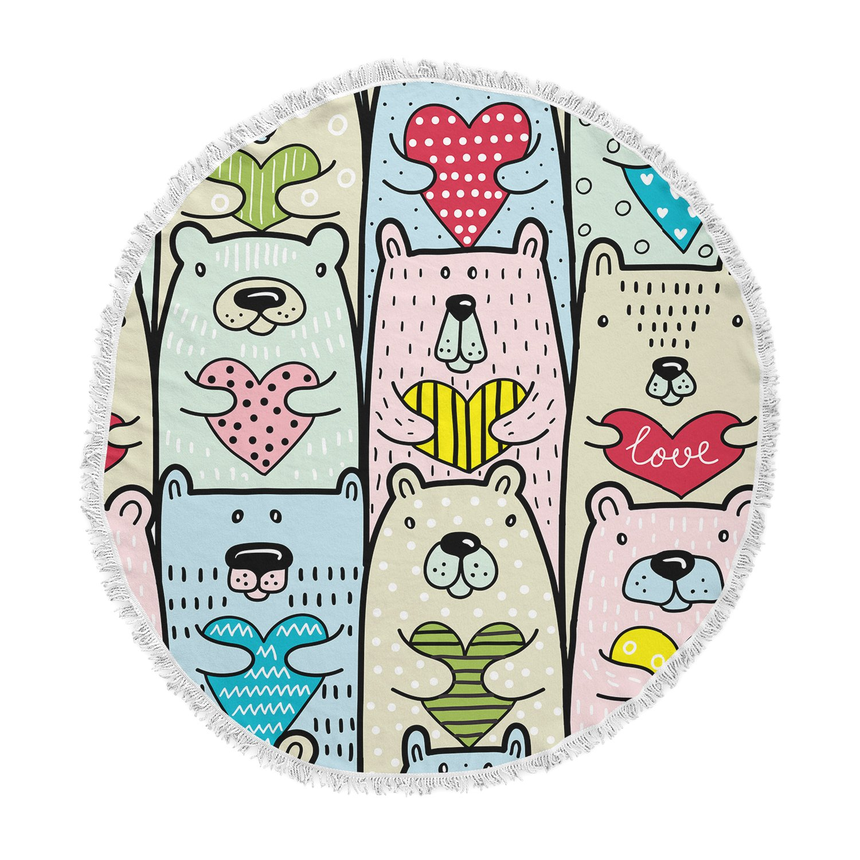 KESS InHouse Snap Studio Bear Hugs Animal Illustration Round Beach Towel Blanket
