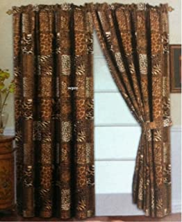4 Piece Curtain Set: 2 Jungle Safari Brown Giraffe Zebra Panels U0026 2 Tie  Backs