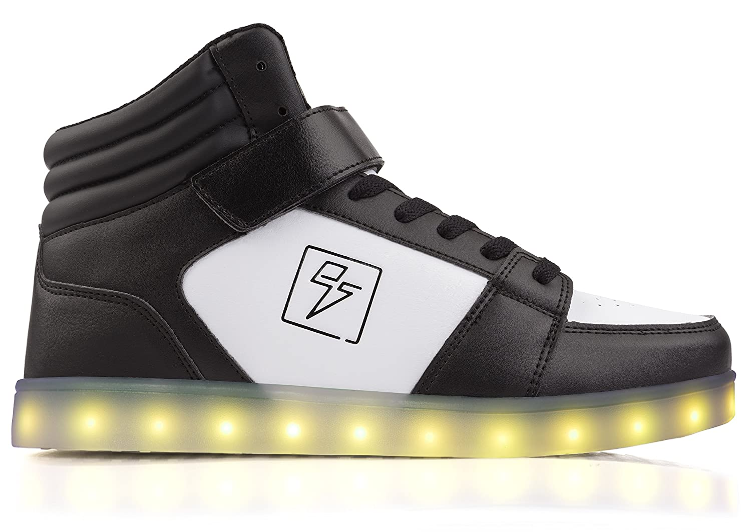 Electric Styles Light up Shoes - High Tops by B01COEL61G 6 B(M) US Women / 4 D(M) US Men|Black & White
