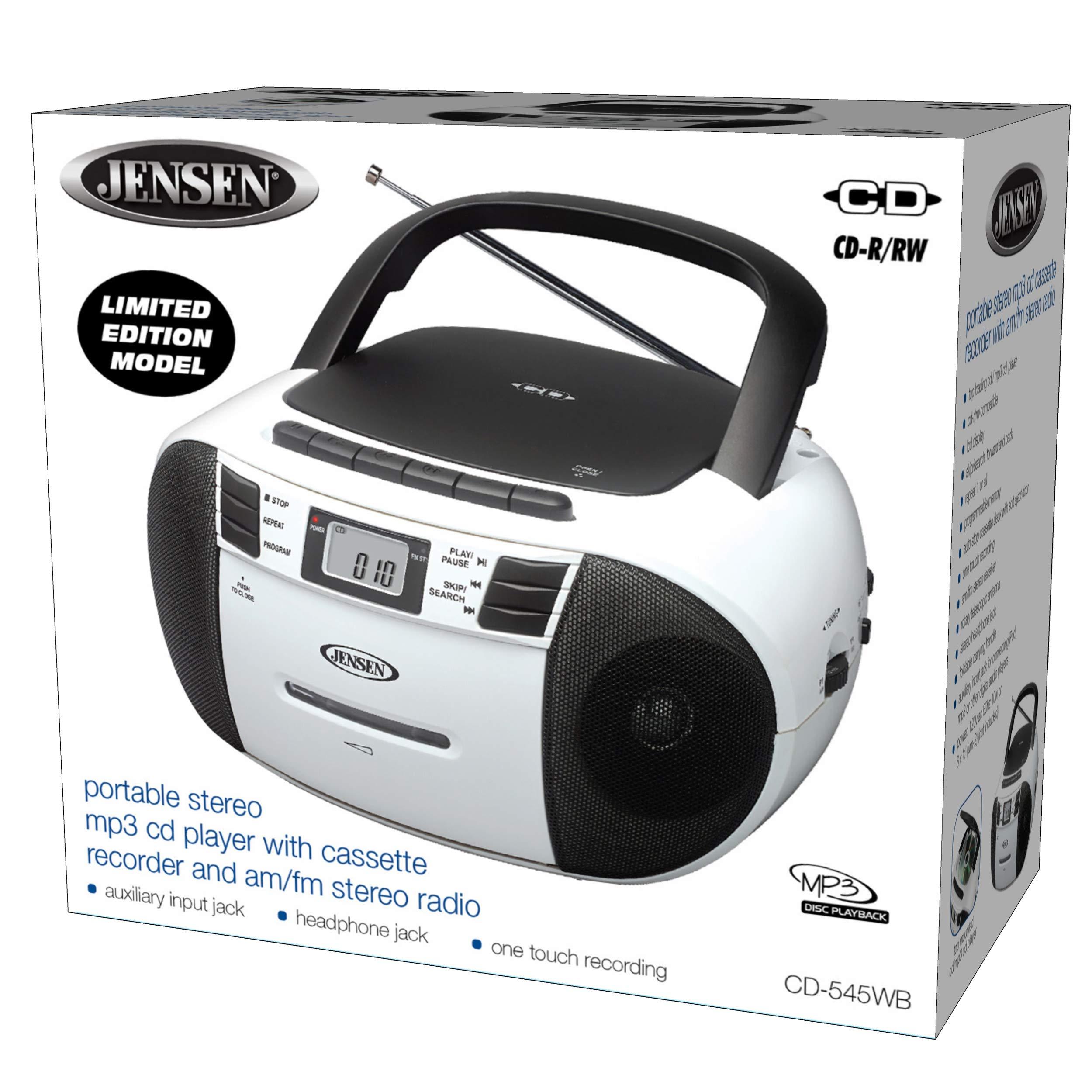 Jensen CD-545MP3 Black/White Top-Loading CD/MP3 AM/FM Radio Cassette Player, and Recorder Boombox Home Audio, Aux, Headphone (Black/Matte White) by Jensen (Image #4)