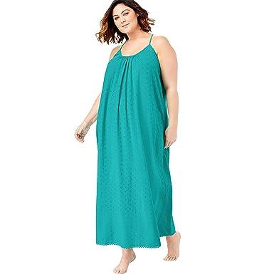 ec89c45bc78d4 Dreams & Co. Women's Plus Size Breezy Eyelet Knit Long Nightgown -  Aquamarine, ...
