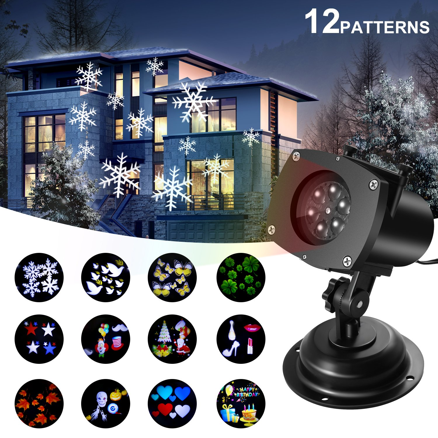 Christmas Projector Lights Outdoor Switchable Pattern Displays Projector Show Waterproof Rotating Projection Light for Decoration Lighting on Christmas Holiday Party Home