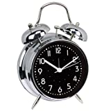 Retro Double Bell Bedside Non-Ticking Alarm Clock with - 4 inches (silver)