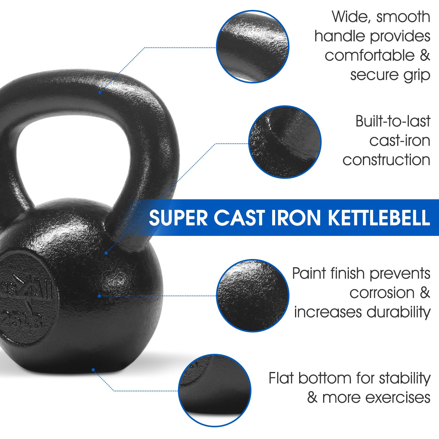 Yes4All Solid Cast Iron Kettlebell Weights Set – Great for Full Body Workout and Strength Training – Kettlebell 25 lbs (Black) by Yes4All (Image #4)