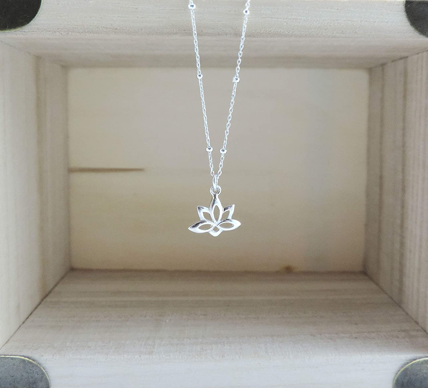 Sister Gift Flower Girl Gift for Daughter Yoga Necklace Dainty Lotus Charm Necklace Sterling Silver Lotus Necklace Minimalist Jewelry