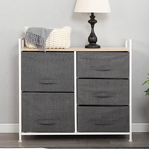 SogesPower 5-Drawer Fabric Dresser Storage Cabinet Storage Tower Storage Organizer Unit